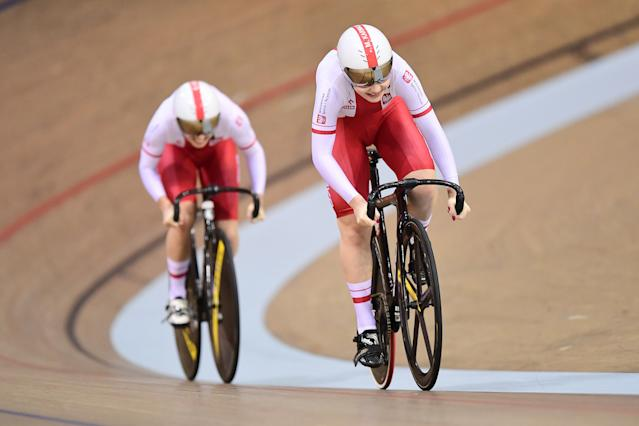 Marlena Karwacka and Urszula Los of Poland ride in the Womens Team Sprint Qualifying