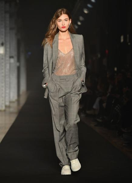 A suit juxtaposing femininity and sportswear from Zadig & Voltaire's Fall-Winter 2019-2020 collection. New York, February 11, 2019