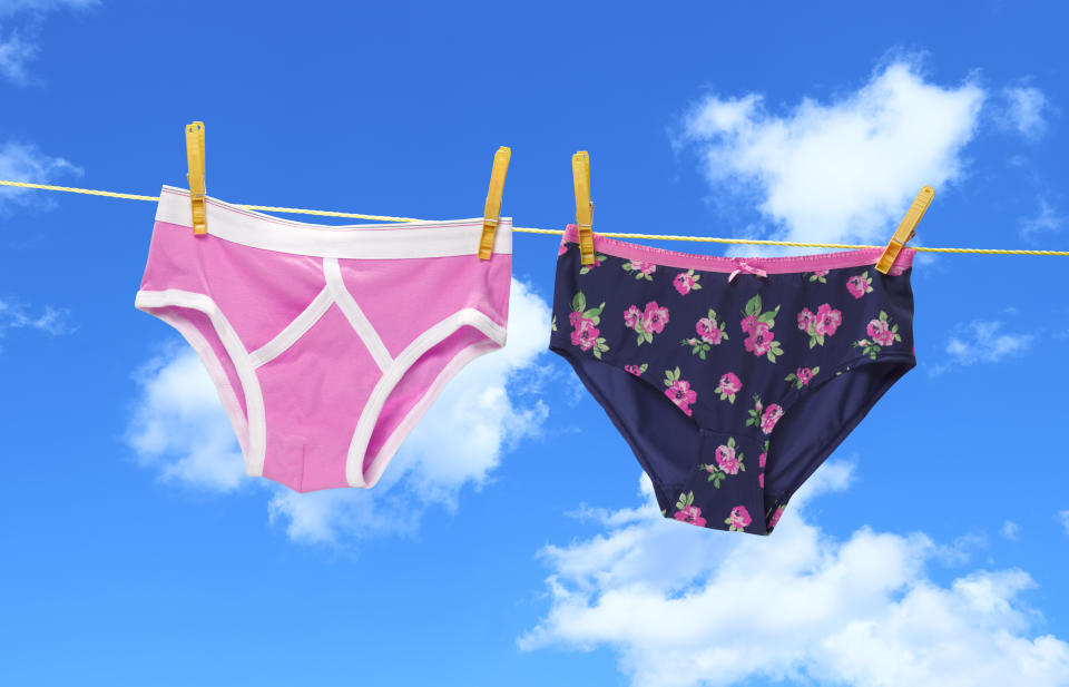 His and hers pants on the washing line