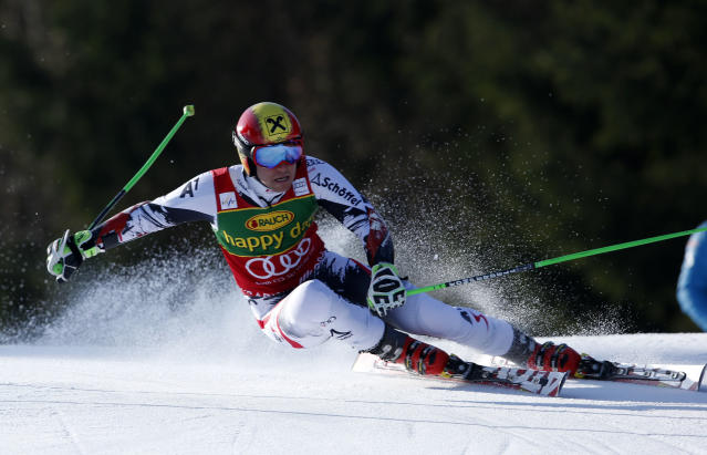 Marcel Hirscher of Austria competes during the first run of an alpine ski men's World Cup giant slalom, in Kranjska Gora, Slovenia, Saturday, March 8, 2014. (AP Photo/Shinichiro Tanaka)