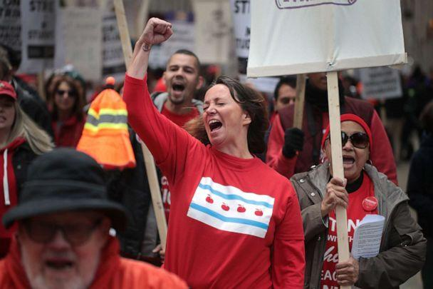 PHOTO: Chicago public school teachers and their supporters march through the Loop on Oct. 17, 2019 in Chicago. (Scott Olson/Getty Images)