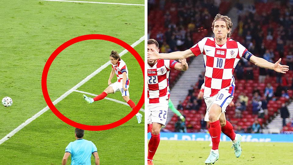 Luka Modric (pictured left) shooting and (pictured right) celebrating his goal for Croatia.