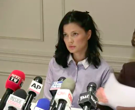 Actress and model Natassia Malthe speaks out against Harvery Weinstein during a news conference on Wednesday. (Facebook Live)