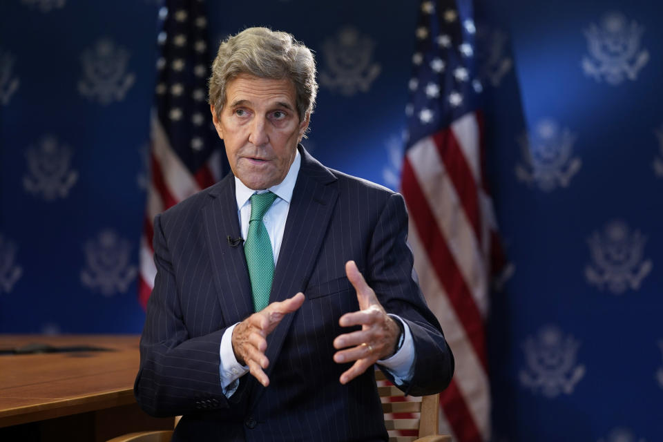 John Kerry, United States Special Presidential Envoy for Climate, speaks during an interview with The Associated Press, Wednesday, Oct. 13, 2021, at the U.S. State Department in Washington. (AP Photo/Patrick Semansky)