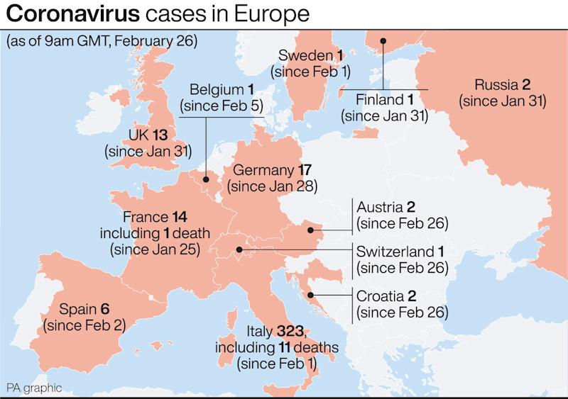 Coronavirus cases in Europe as of 9am on Wednesday (PA)