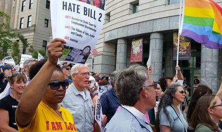 Protesters march to show their opposition against what they called 'Hate Bill 2'? in Raleigh, North Carolina