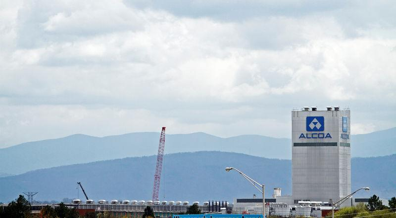 FILE PHOTO: The Great Smoky Mountains are shown in the background in this view of the Alcoa Aluminium plant