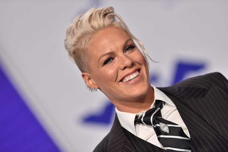 Pink's got a sense of humor about parenting.  (Axelle/Bauer-Griffin via Getty Images)