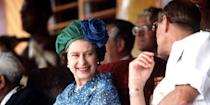 <p>The Queen smiles at Prince Philip during their tour of the South Pacific in Fiji.</p>