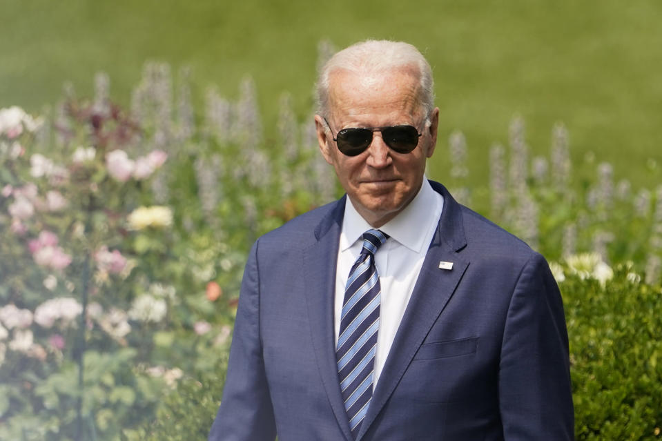 President Joe Biden arrives for a ceremony on the South Lawn of the White House, in Washington, Tuesday, July 20, 2021, where he will honor the Super Bowl Champion Tampa Bay Buccaneers for their Super Bowl LV victory. (AP Photo/Andrew Harnik)