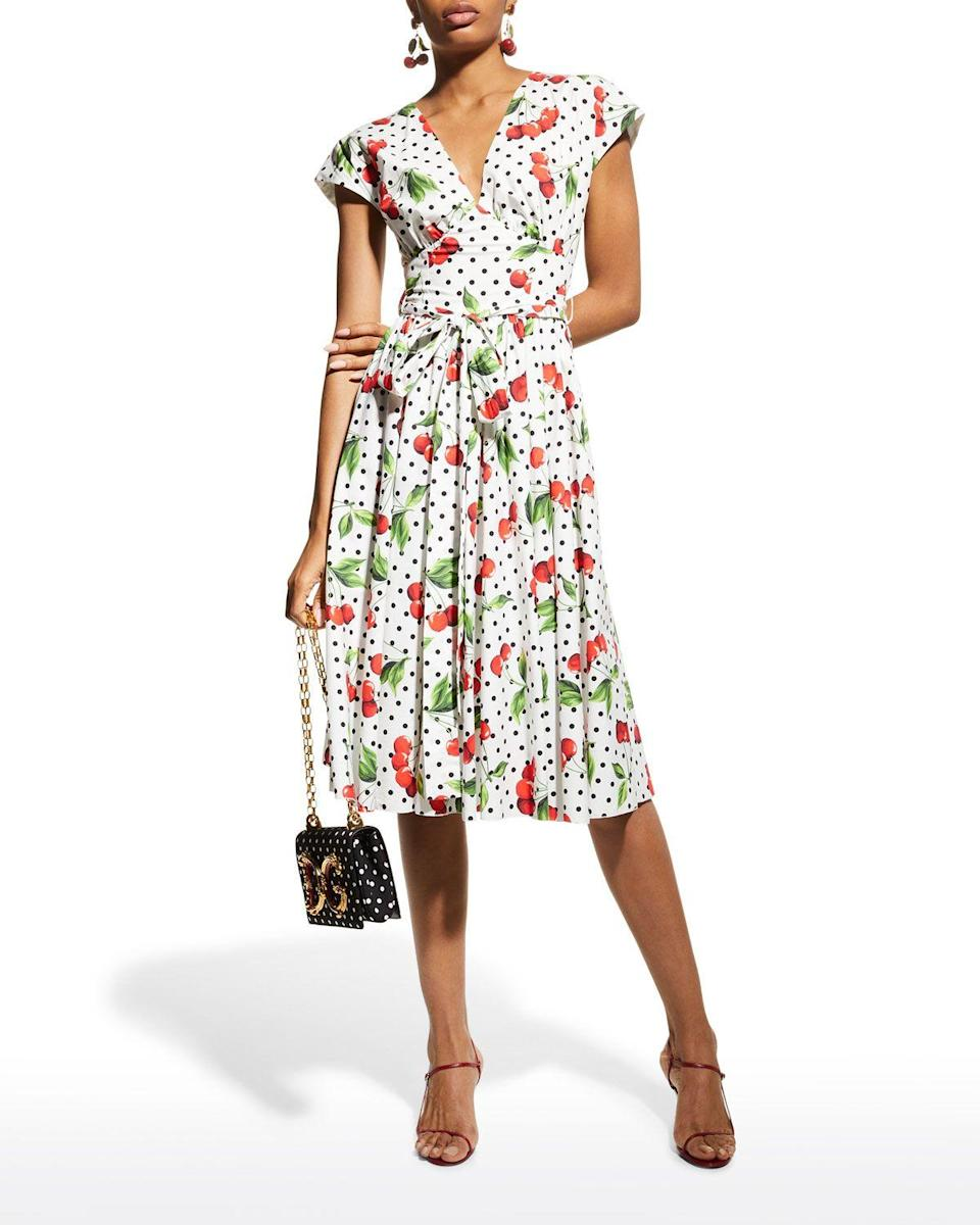 """<p><strong>Dolce&Gabbana</strong></p><p>https://www.neimanmarcus.com</p><p><strong>$2095.00</strong></p><p><a href=""""https://go.redirectingat.com?id=74968X1596630&url=https%3A%2F%2Fwww.neimanmarcus.com%2Fp%2Fdolce-gabbana-evase-polka-dot-cherry-print-poplin-dress-prod243890245&sref=https%3A%2F%2Fwww.townandcountrymag.com%2Fsociety%2Ftradition%2Fg37148297%2Froyal-family-printed-clothes-shop%2F"""" rel=""""nofollow noopener"""" target=""""_blank"""" data-ylk=""""slk:Shop Now"""" class=""""link rapid-noclick-resp"""">Shop Now</a></p><p>Though a bit pricier, Dolce's polka dot and cherry dress leans into a vintage look, with its bold colors and A-line cut. </p>"""
