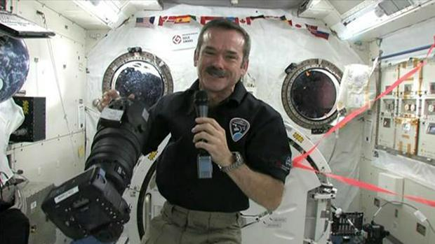 International Space Station Commander Chris Hadfield will have a live video chat with about 1,000 students from Bert Church High School in Airdrie, north of Calgary.
