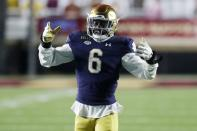 Notre Dame linebacker Jeremiah Owusu-Koramoah plays against Boston College during the second half of an NCAA college football game, Saturday, Nov. 14, 2020, in Boston. Owusa-Koramoah was selected to The Associated Press All-America first-team defense, Monday, Dec. 28, 2020.(AP Photo/Michael Dwyer)