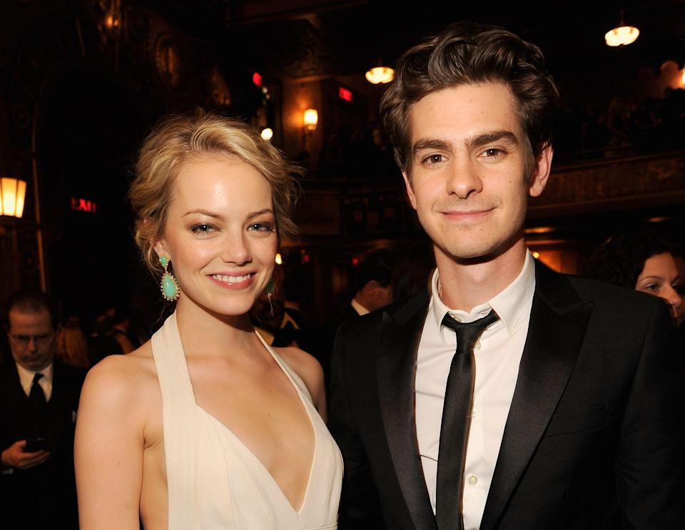 "Following in the trend of friendly exes, <em>Spider-Man</em> costars Emma Stone and Andrew Garfield make the cutest duo whether they're dating or not. Even after their breakup in 2015, Stone told <a href=""https://www.teenvogue.com/story/emma-stone-andrew-garfield-vogue-november-issue?mbid=synd_yahoo_rss"" rel=""nofollow noopener"" target=""_blank"" data-ylk=""slk:Vogue"" class=""link rapid-noclick-resp""><em>Vogue</em></a> that her ex is ""someone I still love very much."" While Garfield has called himself her ""her biggest fan."""