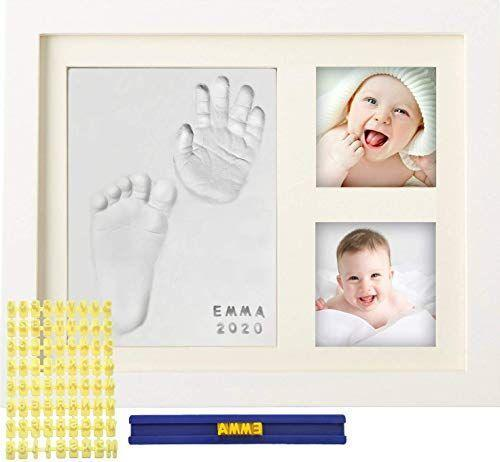 """<p><strong>MyMiniJoy</strong></p><p>amazon.com</p><p><strong>$19.95</strong></p><p><a href=""""https://www.amazon.com/dp/B0755PRVSB?tag=syn-yahoo-20&ascsubtag=%5Bartid%7C10055.g.34395671%5Bsrc%7Cyahoo-us"""" rel=""""nofollow noopener"""" target=""""_blank"""" data-ylk=""""slk:Shop Now"""" class=""""link rapid-noclick-resp"""">Shop Now</a></p><p>Help them preserve those earliest memories with this kit, which allows for two photos along with a clay impression of a handprint or a footprint. Step-by-step instructions are provided.</p>"""