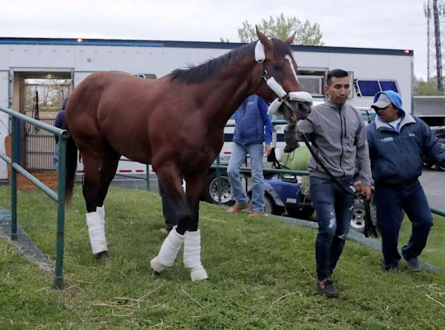 Maximum Security is not running the Preakness after his Kentucky Derby disqualification. (AP Photo/Julio Cortez)