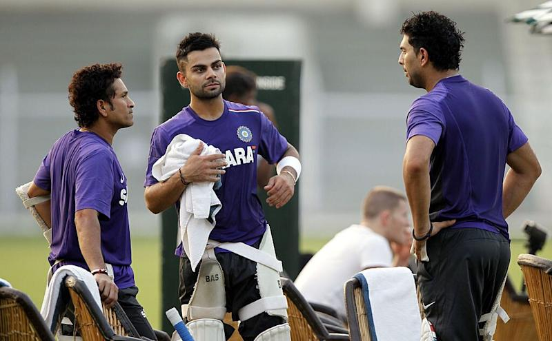 Sachin Tendulkar Virat Kohli and Yuvraj Singh during a practice session
