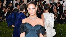 <p>Katie Holmes's elegant look demonstrates the versatility of Dark Star 006 in UltraViolet Blue. (Photo: Getty Images) </p>