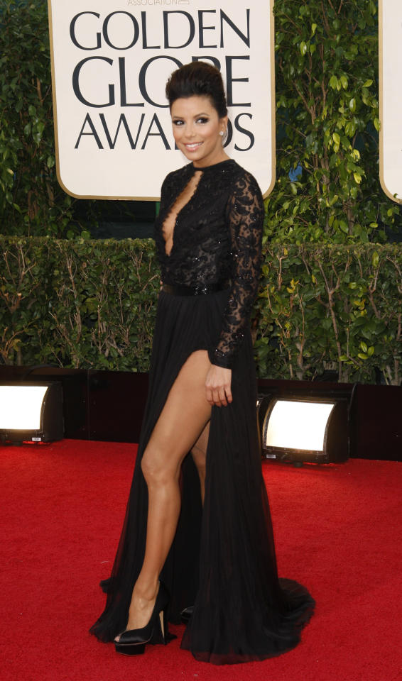 "Actress Eva Longoria of the TV series ""Desperate Housewives"" at the 70th annual Golden Globe Awards in Beverly Hills, California January 13, 2013. REUTERS/Jason Redmond (UNITED STATES - Tags: Entertainment) (GOLDENGLOBES-ARRIVALS)"