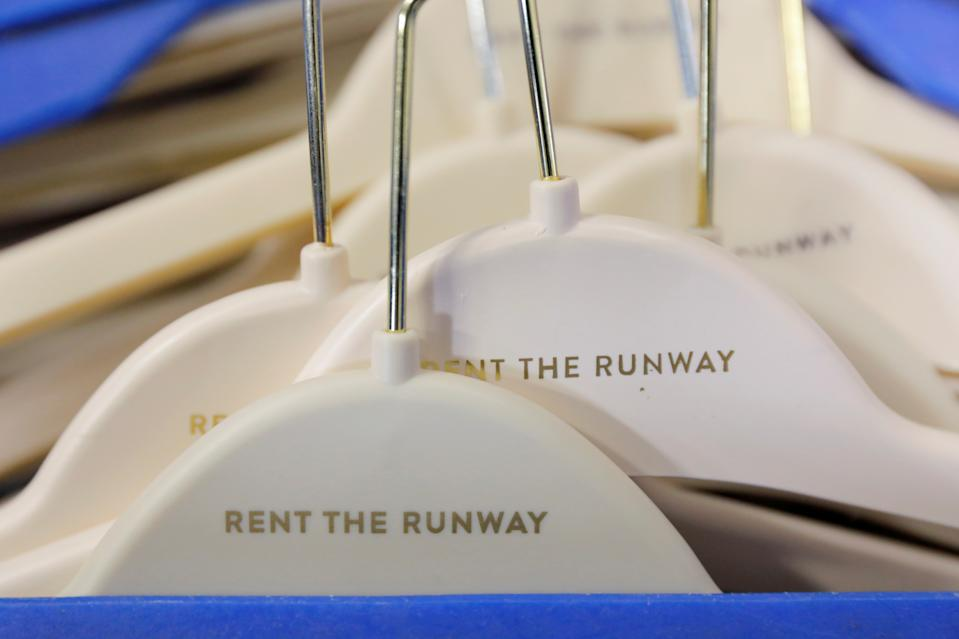"""Hangers are seen at Rent the Runway's """"Dream Fulfillment Center"""" in Secaucus, New Jersey, U.S., September 11, 2019. Picture taken September 11, 2019. REUTERS/Andrew Kelly"""