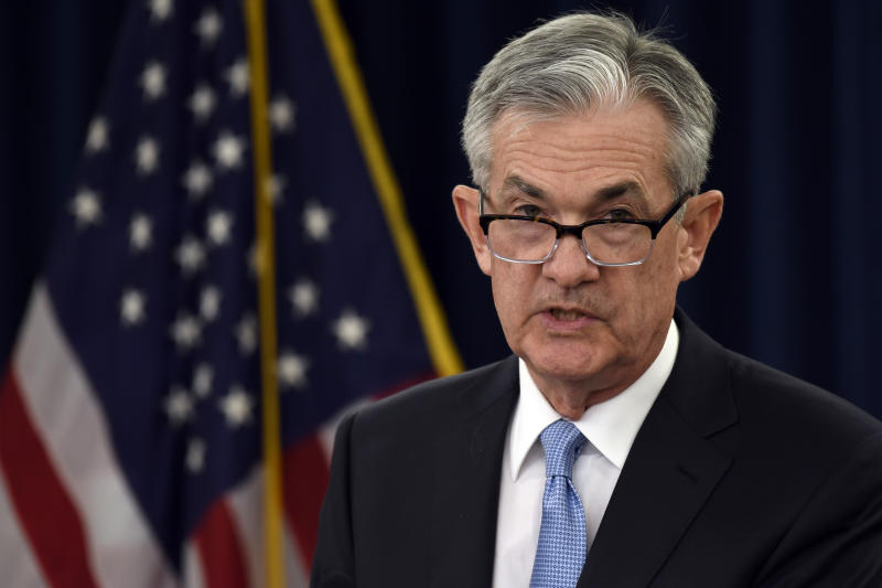 "Federal Reserve Chair Jerome Powell speaks during a news conference in Washington, Wednesday, March 20, 2019. The Federal Reserve left its key interest rate unchanged Wednesday and projected no rate hikes in 2019, dramatically underscoring its plan to be ""patient"" about any further increases. (AP Photo/Susan Walsh)"