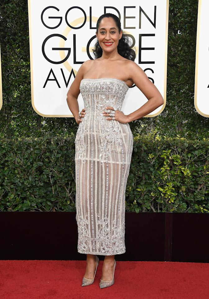 """<p>Tracee Ellis Ross in a strapless embellished Zuhair Murad dress with pumps and <a rel=""""nofollow"""" href=""""https://www.popsugar.com/fashion/Tracee-Ellis-Ross-Rings-Golden-Globe-Awards-2017-42960126"""">wore rings by a variety of designers</a> in 2017.</p>"""