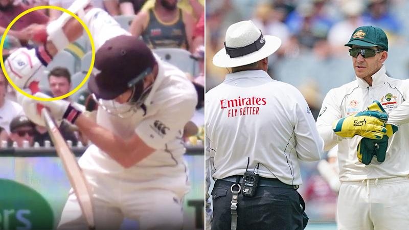 Pictured on the right, Aussie captain Tim Paine was convinced Mitchell Santner was out.