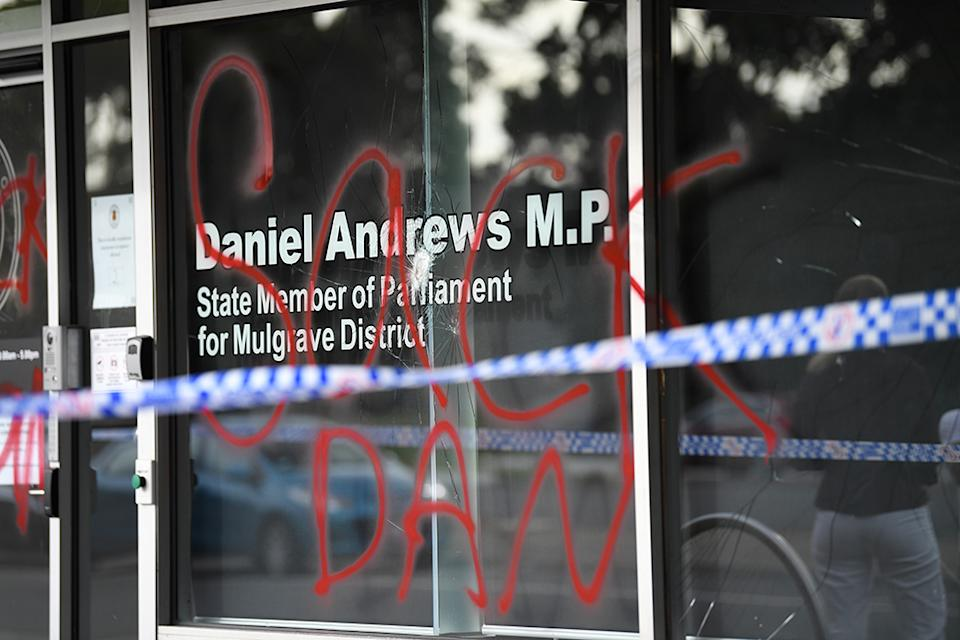 A close up of the graffiti on the Premier's window, reading 'Sack Dan'.