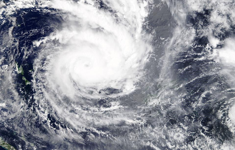 A handout satellite image released by NASA from its Terra satellite shows the Category five Cuclone Yasa north-west of Fiji's Viti Levu island on 15 December. Source: AAP