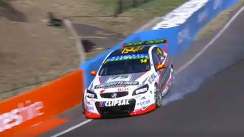 Slade's problems began as he flew down the mountain. Pic: Fox Sports
