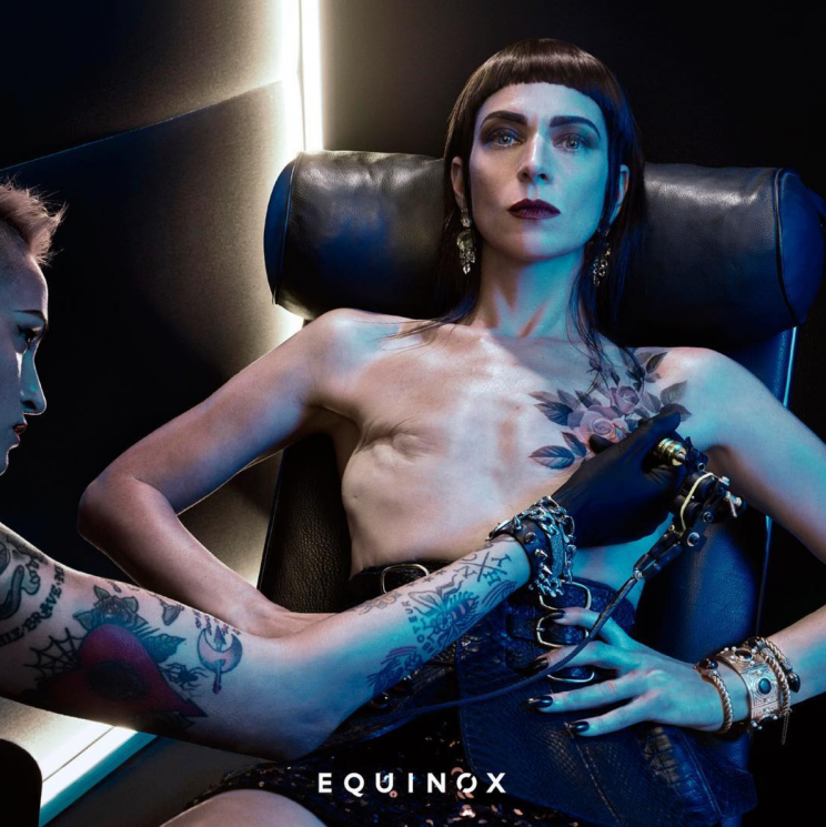 <i>Artist Samantha Paige shows off her mastectomy scars in Equinox's 2017 campaign [Photo: Instagram/lastcut]</i>