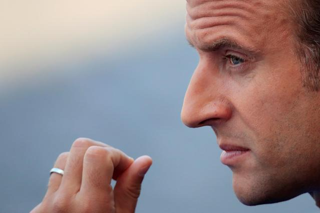 <p>French President Emmanuel Macron attends the traditional Bastille Day military parade on the Champs-Élysées in Paris, France, July 14, 2018. (Photo: Gonzalo Fuentes/Reuters) </p>