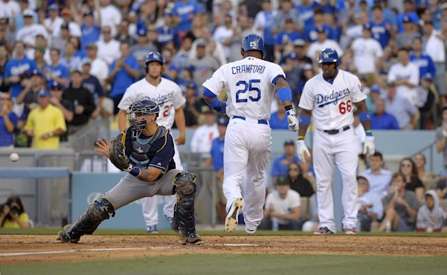 Los Angeles Dodgers' Carl Crawford, second from right, scores on a double by Adrian Gonzalez as Clayton Kershaw, upper left, and Yasiel Puig, right, look on as Tampa Bay Rays catcher Jose Lobaton takes a late throw during the fourth inning of their baseball game, Sunday, Aug. 11, 2013, in Los Angeles. (AP Photo/Mark J. Terrill)