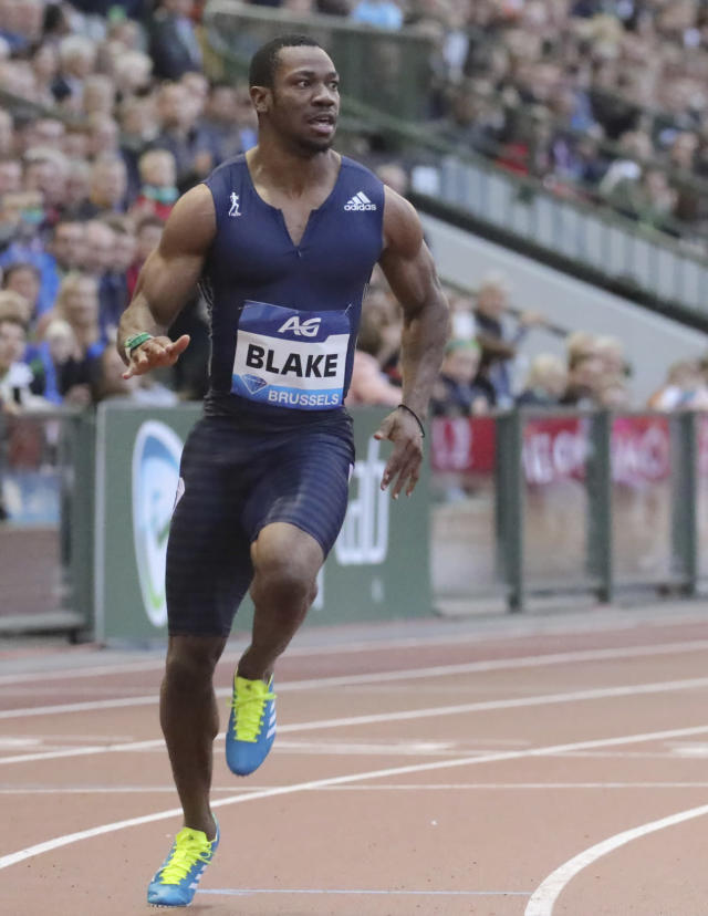 Jamaica's Yohan Blake competes during the men's 100 meter at the Diamond League Memorial Van Damme athletics event at the King Baudouin stadium in Brussels on Friday, Sept. 1, 2017. (AP Photo/Olivier Matthys)