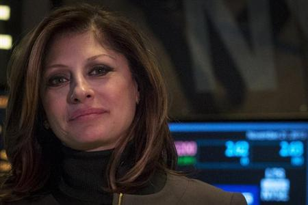 Business television presenter Bartiromo works on the floor of the New York Stock Exchange