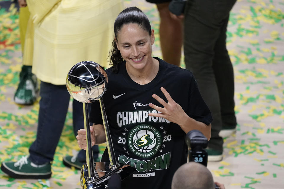 Seattle Storm guard Sue Bird poses for a photo after the team won basketball's WNBA Championship Tuesday, Oct. 6, 2020, in Bradenton, Fla. (AP Photo/Chris O'Meara)