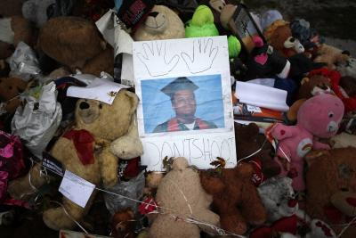 A memorial set up for Michael Brown is seen in Ferguson on Oct. 10. (Reuters/Jim Young)