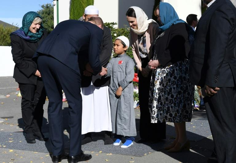 Britain's Prince William and New Zealand Prime Minister Jacinda Ardern visit the Al Noor mosque where worshippers were killed in an attack on March 15