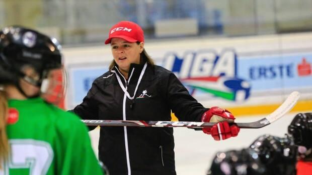Lisa Haley is shown on the ice with Team Hungary. Haley will lead the team during the upcoming IIHF women's world championship tournament in Nova Scotia.