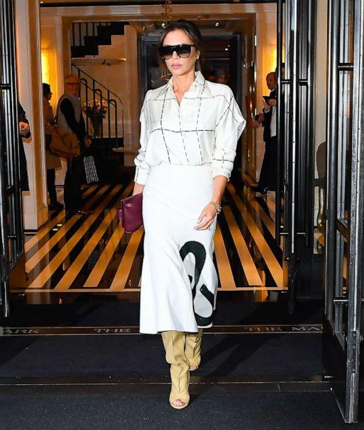 PHOTO: Victoria Beckham is seen coming out of The Mark Hotel on October 18, 2019, in New York. (Raymond Hall/GC Images via Getty Images)