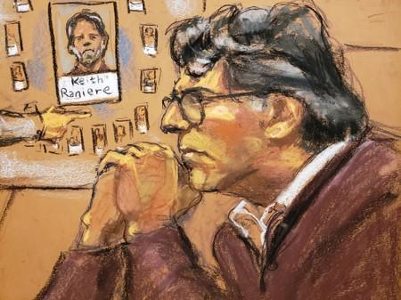 Court room sketch of Nxivm leader Keith Raniere, facing charges including racketeering, sex trafficing and child pornography is shown in this courtroom sketch in U.S. Federal Court in Brooklyn