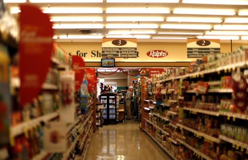 FILE PHOTO: An isle of a Ralphs grocery store, which is owned by Kroger Co, is pictured ahead of company results in Altadena