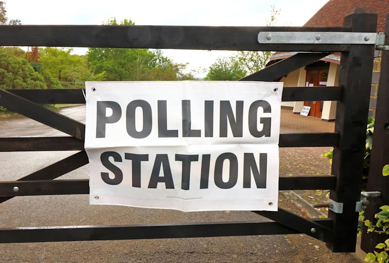 Polling signs seen at a building at a cemetery in Stevenage used as a Polling Stations during UK Local Elections. (Photo by Keith Mayhew / SOPA Images/Sipa USA)
