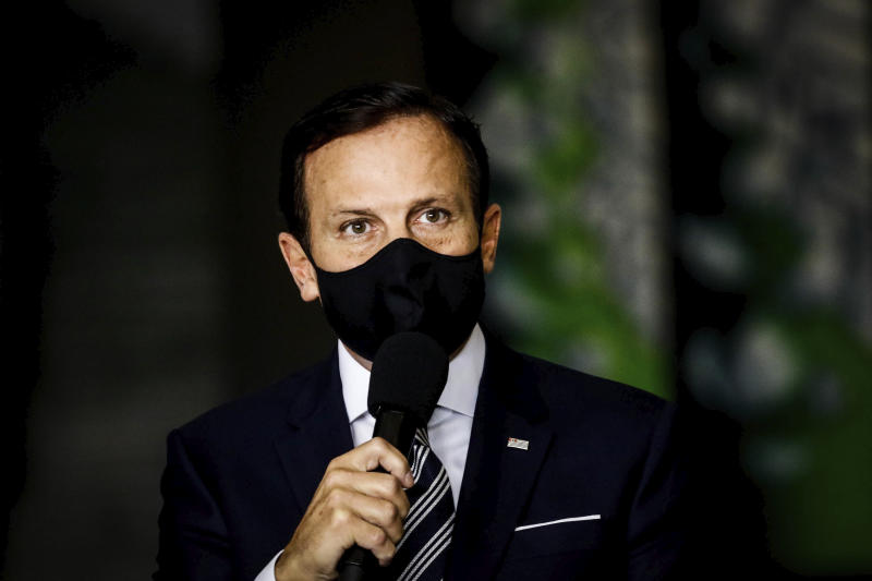 The Governor of the State of São Paulo, João Doria announces this Wednesday, June 10, 2020 during a press conference, at the Palácio dos Bandeirantes, in Sao Paulo, Brazil, to continue with the quarantine that goes from June 15th to the 28th, and the new stage of the SP Plan for the economic recovery, even with the number of deaths reaching almost 10,000 and more than 150,000 infected. (Photo: Aloisio Mauricio/Fotoarena/Sipa USA)(Sipa via AP Images)