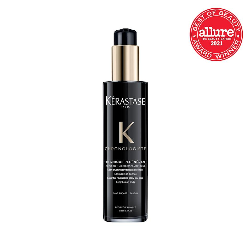 """A heat protector, shine serum, and treatment all in one, the lightweight <strong>Kérastase Chronologiste Thermique Régénérant Blow Dry Primer</strong> yields the <a href=""""https://www.allure.com/gallery/the-best-frizz-fighting-hair-products?mbid=synd_yahoo_rss"""" rel=""""nofollow noopener"""" target=""""_blank"""" data-ylk=""""slk:sleekest blowouts"""" class=""""link rapid-noclick-resp"""">sleekest blowouts</a> this side of the salon. And the floral scent is so dreamy, it doubles as our favorite hair fragrance."""