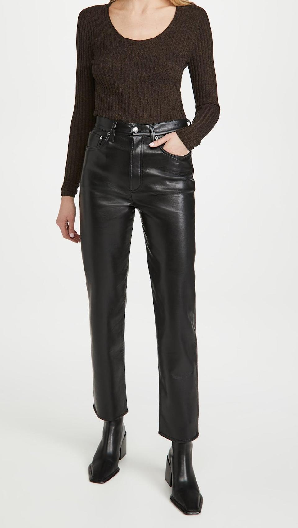 <p>These <span>Agolde Recycled Leather Fitted '90s Pants</span> ($298) are a splurge-worthy investment you'll treasure for years. You can easily dress them up with heels or down with sneakers.</p>