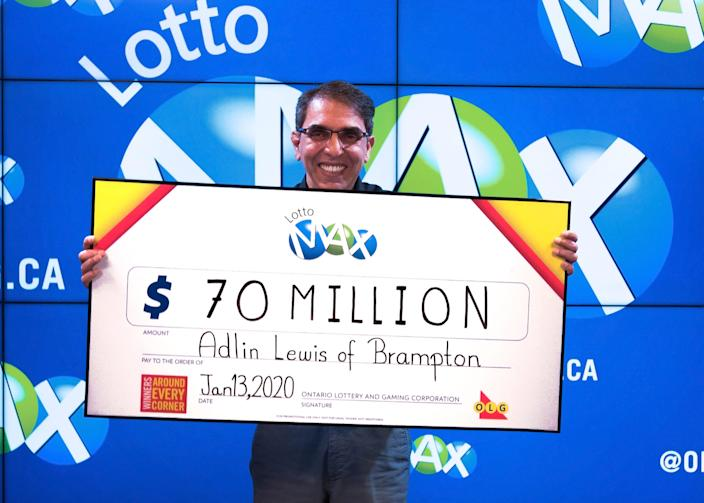 $70 million Lotto Max win for Adlin Lewis of Brampton, Ont. (OLG)