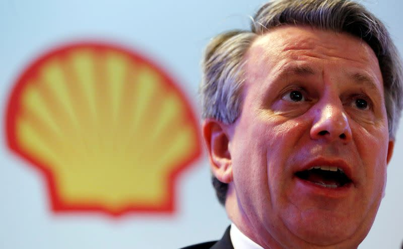 FILE PHOTO: Ben van Beurden, CEO of Royal Dutch Shell, speaks during a news conference in Rio de Janeiro