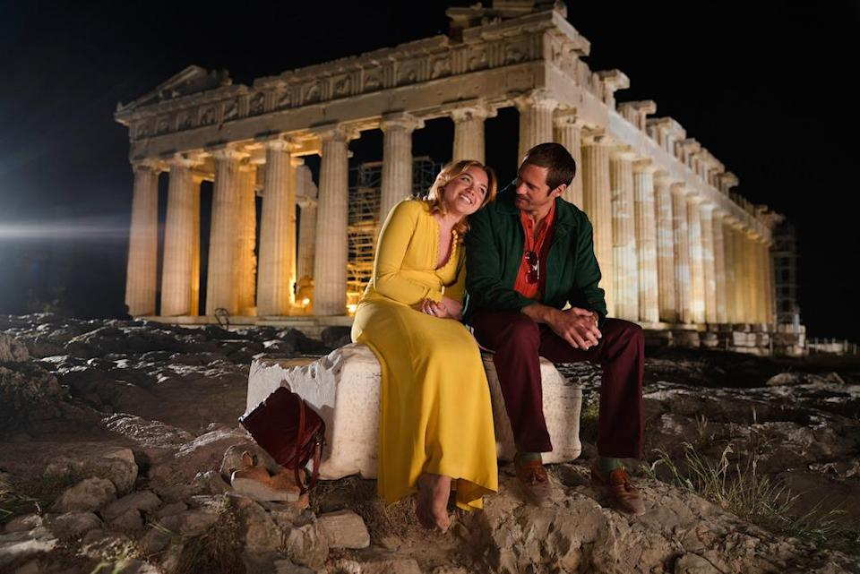 Florence Pugh and Alexander Skarsgard get cosy in Athens in <em>The Little Drummer Girl</em> (Picture: BBC)