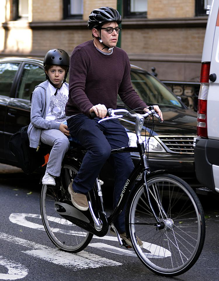 June 11, 2013: James Broderick and Matthew Broderick are seen making a school run in the West Village New York City.